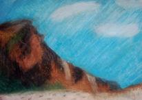 Felsen, Pastellmalerei, Pinnwand, Felsig