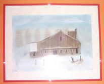 Schnee, Winter, Pastellmalerei, Pinnwand