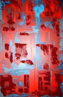Spachtel, Blau, Abstrakt, Acrylmalerei