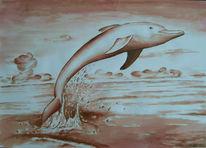 Zeichnung, Zeichnungen, Delfin