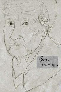 Zeichnung, Alter, Oma, Jugend