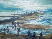 Landschaft, Sonne, Malerei, Menschen