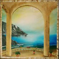 Landschaft, Malerei, Meer, Ausblick