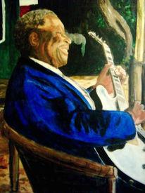 Malerei, Bluesmusiker, Portrait, Figural