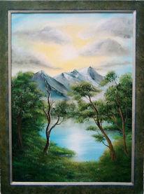 Landschaft, Malerei, Wasser, Berge