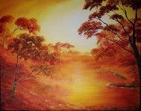 Malerei, Landschaft, Wald, Fluss
