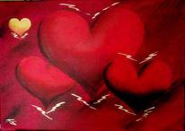 Malerei, Herzen, Rot, Liebe