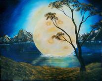 Blau, Surreal, Mond, Malerei