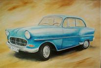 Ocker, Auto, Malerei, Blau