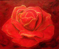 Rot, Malerei, Rose, Pflanzen