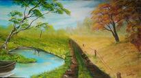 Landschaft, Sommer, Herbst, Malerei