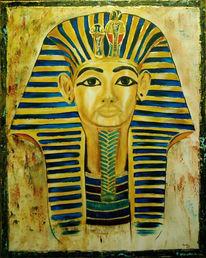 Blau, Malerei, Gold, Figural