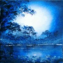 Nacht, Landschaft, Mondschein, Malerei