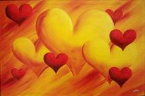 Herzen, Rot, Liebe, Orange