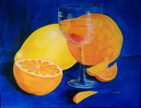 Stillleben, Orange, Blau, Saft