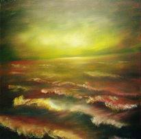 Meer, Messeingfarben, Landschaft, Sonnenuntergang