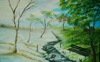 Landschaft, Malerei, Winter, Frühling