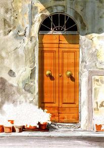 Italien, Blumen, Toskana, Tür