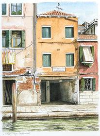 Architektur, Meer, Aquarellmalerei, Venezia