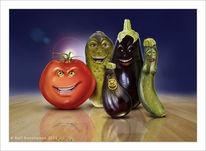 Zucchini, Digital, Gurke, Aubergine