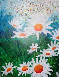 Wiese, Landschaft, Malerei, Blumen