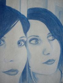 Spiegelung, Zeichnung, Portrait, Zeichnungen