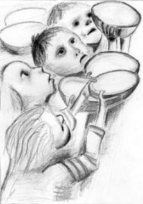 Portrait, Armut, Zeichnung, Zeichnungen