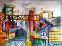 Malerei, Industrielandschaft, Nacht