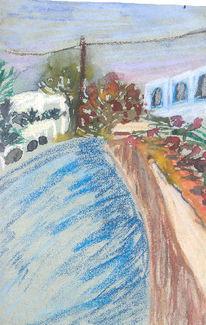 Malerei, Gasse, Skizze, Rhodos
