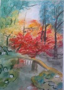Herbst, Malerei, Brücke, Garten