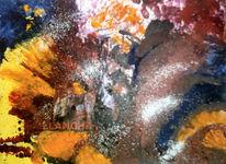 Malerei, Purpur, Gelb, Blau