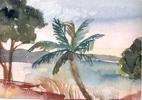 Meer, Südsee, Palmen, Malerei