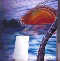 Landschaft, Malerei, Bucht