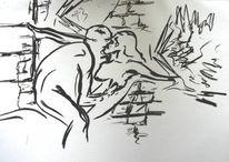 Zeichnungkohle, Zeichnungen, Engel