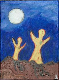 Malerei, Mond, Abstrakt, Herz