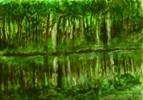 Digital, Landschaft, Spiegelung, Baum