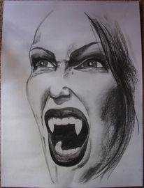 Kohlezeichnung, Zeichnungen, Vampir