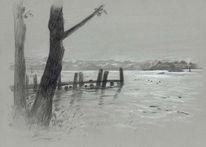 Grau, See, Landschaft, Steg