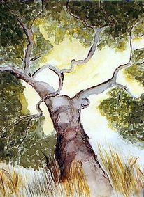 Landschaft, Malerei, Olivenbaum