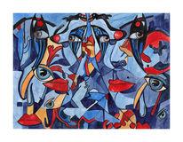 Blau, Aquarellmalerei, Blick, Schlüsselloch