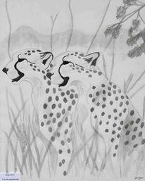 Zeichnung, Tuschmalerei, Tiere, Gepard