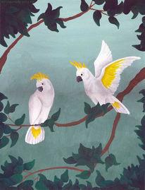 Papagei, Kakadu, Malerei, Tiere