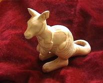 Tiere, Känguru, Geschnitzte, Holz