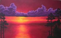 Meer, Acrylmalerei, Sonnenuntergang, Landschaft