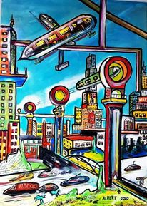 Zukunft, Stadt, Magnetschwebebahn, Malerei