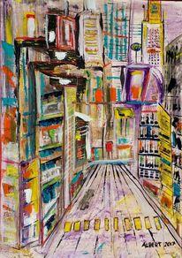 Stadt, Großstadt, Leere, Malerei