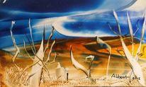 Grenzland, Wüste, Wind, Mischtechnik