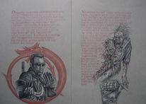Vampir, Horror, Zeichnung, Kalligrafie