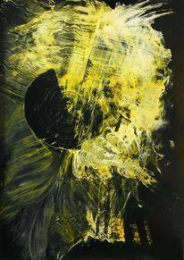 Malerei, Gelb, Schwarz, Abstrakt