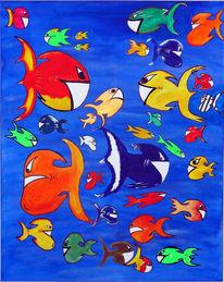 Aquarium, Figural, Killerkarpfen, Malerei